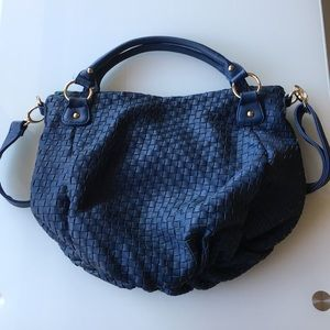 Deux Lux eco leather large woven hobo bag